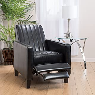 Christopher Knight Home 295905 Gerald Black Bonded Leather Channel Recliner Chair