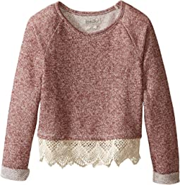 Popover Top with Lace Trim and Lurex Detail (Little Kids)