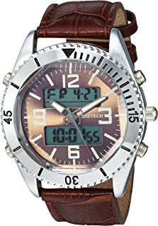 TIMETECH Men's Alarm Sport Watch Analog Digital Metal Case Brown Strap