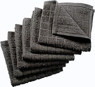 Nirisha Cotton Terry Dish Cloth - 6 Pack - Grey - 12 x 12 Inches - 400 GSM - 100% Ringspun 2 Ply Cotton - Box Weave - Soft...
