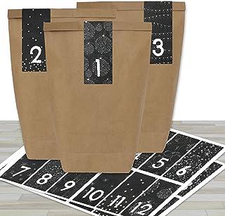 Kalendarz adwentowy do samodzielnego napełniania – z 24 brązowymi torebkami papierowymi i 24 czarno-białymi naklejkami – d...