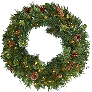 National Tree 36 Inch Glistening Pine Wreath with Cones, Red Berries, Twigs and 100 Battery Operated Warm White LED Lights with Timer (GN19-300-36W-B)