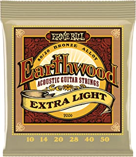 Ernie Ball Earthwood Extra Light 80/20 Bronze Acoustic Set, .010 - .050