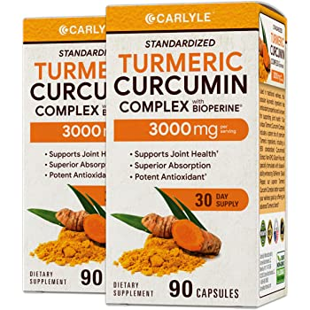 Turmeric Curcumin 3000 mg 180 Capsules | with 95% Standardized Curcuminoids and Bioperine | Pain Relief and Joint Support | Non-GMO, Gluten Free | by Carlyle