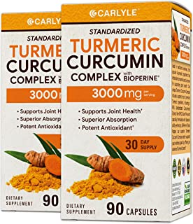 Turmeric Curcumin 3000 mg 180 Capsules | with 95% Standardized Curcuminoids and Bioperine | Pain Relief and Joint Support ...