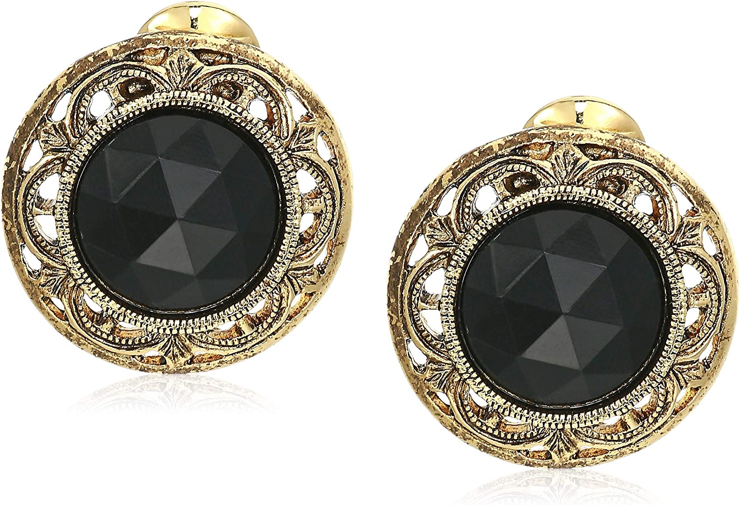 1928 Jewelry Gold Tone With Decal Stone Round Clip Earring