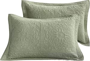 WINLIFE 100% Cotton Quilted Pillow Sham Floral Printed Pillow Cover Green
