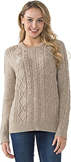 PrettyGuide Women's Sweater Crewneck Cable Knit Long Sleeve Pullover Tops