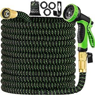 Garden Hose 50 ft & Nozzle, Expandable Garden Hose Heavy Duty, Retractable Water Hose 10 Function Nozzle, Flex Hose with S...