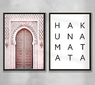 Decorazione da parete - Set di poster premium da parete per soggiorno, formato A3, senza cornice, Hakuna Matata - Porta ma...