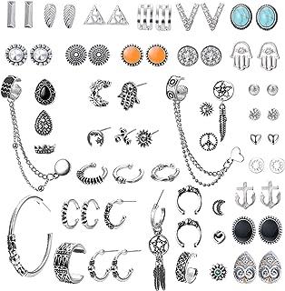 Assorted Multiple Stud Earrings Hoops Dangle Earrings for Women Bohemian Retro Vintage Ear Cuffs Crawler Chic Earrings Set