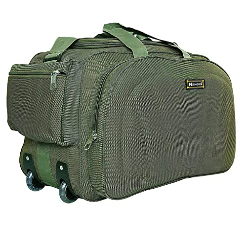 N Choice Polyester 60 L Green Travel Duffel Luggage Bag with 2 Wheels