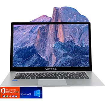 VETESA 2020年春夏モデル 大画面15.6型ノートパソコン/日本語キーボード/フルHD液晶/初期設定不要Microsoft Office 2019/ Windows 10/高性能インテルCPU N3050搭載/ WIFI/USB3.0/HDMI/WEBカメラ/15.6インチ/ SSD:180GB /メモリ4GB/日本語説明書/1年保証付き 320GB外付けHDD付属 (SSD:180)