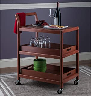 Serving Cart for Home, Kitchen Trolley Cart, Utility Rolling Serving Carts with 3 Tier Storage Shelves, Handle Rack, Lockable Casters Wheels Kitchen Carts Island with Removable Wood Box Containers