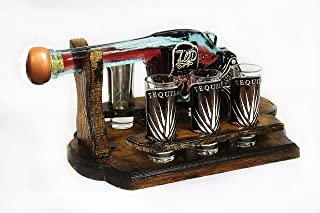 Mextouch Tequila Pistol Decanter Set With 6 Shot Glasses, Wood Stand and Metallic Ornaments …