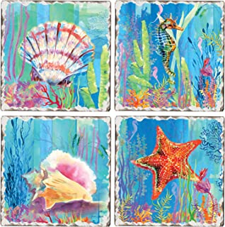 CounterArt Set of 4 Assorted Tumbled Tile Coasters, Colorful Under the Sea