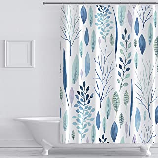 wtisan Floral Shower Curtain,Tropical Shower Curtain,Waterproof Fabric Shower Curtains for Bathroom with 12 Plastic Hooks, 72x72 Inch