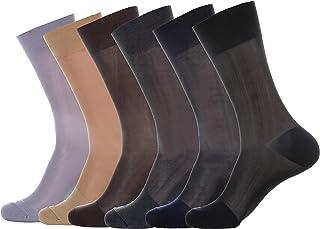 3-Pack Mens Mid Calf Sheer Nylon Dress Socks
