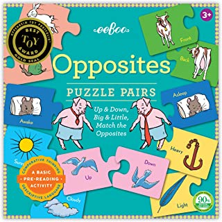eeBoo Preschool Opposites Puzzle Pairs for Toddlers 3 Years and Up