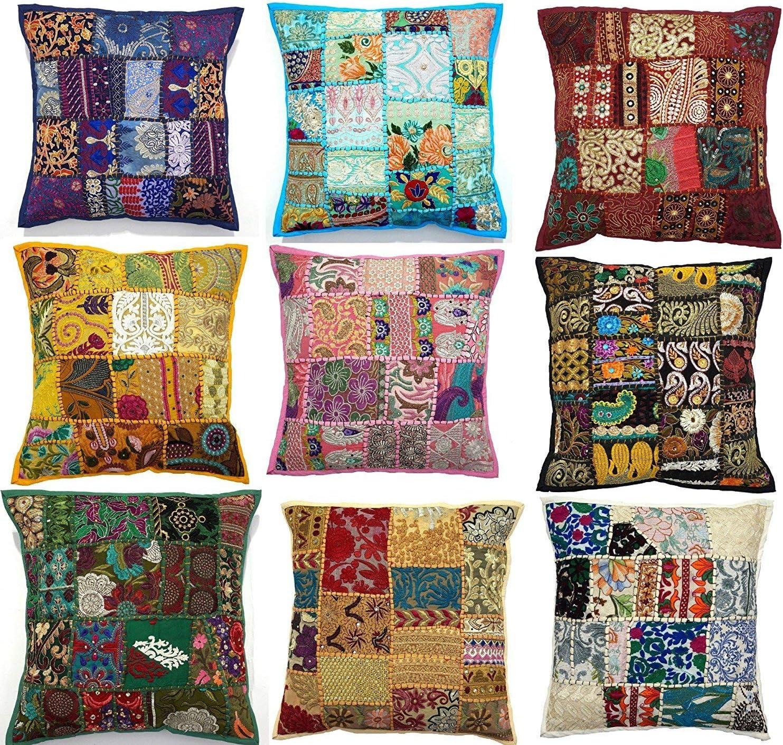 Sophia-Art Sari Indian 低廉 Pillow Patch 10pc Patchwork Cove メーカー直送