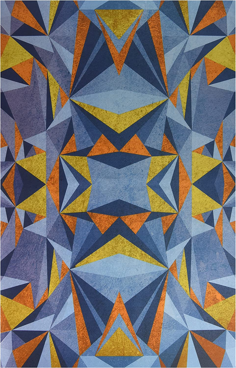 Kess InHouse Nika Martinez Abstraction bluee and gold Feeding Mat for Pet Bowl, 24 by 15Inch