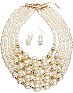 Yuhuan Women Elegant Jewelry Set White Pearl Bead Cluster Collar Bib Choker Necklace and Earrings Suit