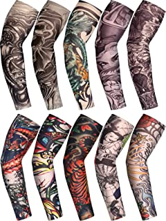 Boao 10 Pairs Men's Cooling Arm Sleeves Long Fingerless Gloves Anti-Slip Sun Protection Arm Sleeves (Color Set 6)