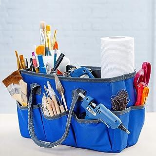 حقيبة كبيرة للتخزين اليدوية مع 10 جيوب | سجل القصاصات، الخياطة، لوازم الفنية، حقيبة منظمة بمقابض | حقيبة حمل مثالية للسفر ...