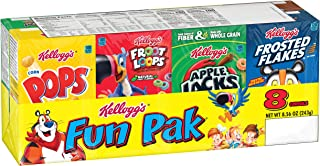 Kellogg's Breakfast Cereal, Variety Fun Pack, Frosted Flakes, Apple Jacks, Froot Loops, Corn Pops, and Cocoa Krispies, 8.56 oz Tray (8 Count)