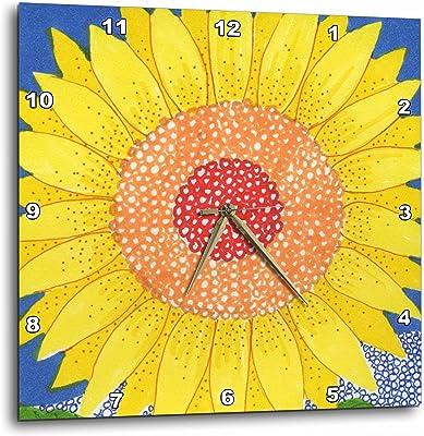 3dRose Sunflower Sun Flower Bright Cheerful Yellow Flower Whimsical Illusrtation Bold Happy - Wall Clock, 15 by 15-Inch (DPP_23304_3)