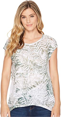 Tribal Printed Burnout Cap Sleeve High-Low Top