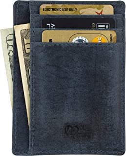 Earnda Credit Card Wallet with Zipper Genuine Leather Credit Card Holder with RFID Blocking Small Accordion Card Case