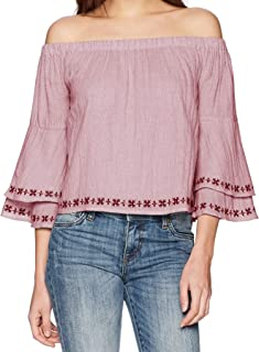 Lucky Brand womens OFF THE SHOULDER EMBROIDERED TOP Shirt