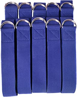 Hello Fit - 10-Pack of 8-Foot Yoga Straps - Wholesale Pricing - Adjustable D-Ring Buckle - for Stretching, Flexibility and Exercise - Durable, Thick Cotton