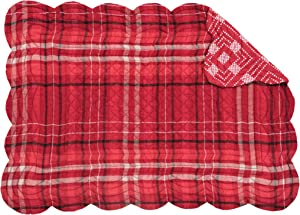 C&F Home Andrew Red Plaid Cabin Lodge Rustic Quilted Single Rectangular Cotton Quilted Placemat Rectangular Placemat Red