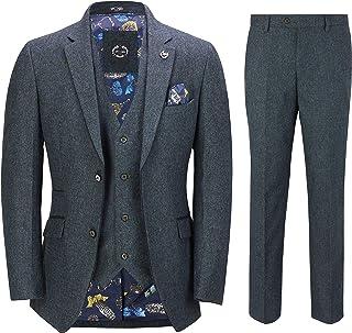 Mens Blue Tweed 3 Piece Suit Vintage Herringbone Black Suede Trim Smart Tailored Fit