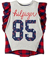 Tommy Hilfiger Kids - Flutter Sleeves Mix Media Top (Big Kids)