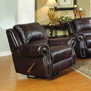 Coaster Home Furnishings Sir Rawlinson Upholstered Swivel Rocker Recliner Dark Brown