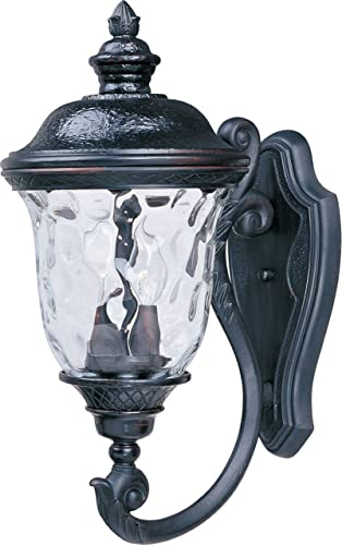 """discount Maxim 3423WGOB Carriage House Traditional Early American DC Cast Aluminum online sale Water Glass Outdoor Wall Sconce, 2-Light 80 lowest Total Watts, 20""""H x 9""""W, Oriental Bronze online sale"""
