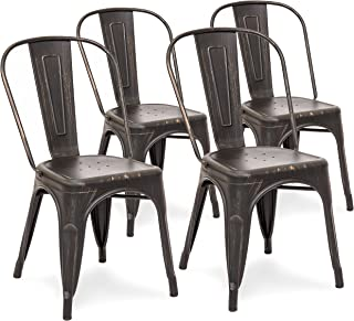 Best Choice Products Metal Industrial Distressed Bistro Chairs for Home, Dining Room, Café, Restaurant Set of 4, Bronzed Black