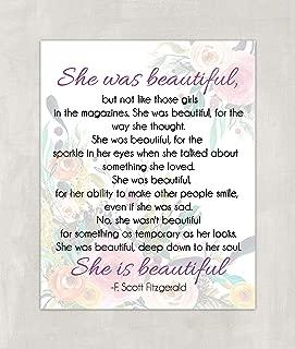 F. Scott Fitzgerald Quote | She was Beautiful Quote Wall Art Print - 8x10 UNFRAMED