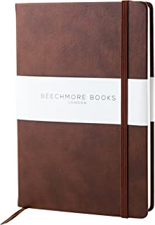 Premium British Notebook/Notepad - Beechmore Books A5 Notebook, 120 gsm cream paper, Vegan Leather, Hardcover Journal in Gift Box (Chestnut Brown, Ruled)