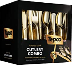 300 Gold Plastic Silverware Set - Plastic Gold Cutlery Set - Disposable Flatware Gold - 100 Gold Plastic Forks, 100 Gold P...