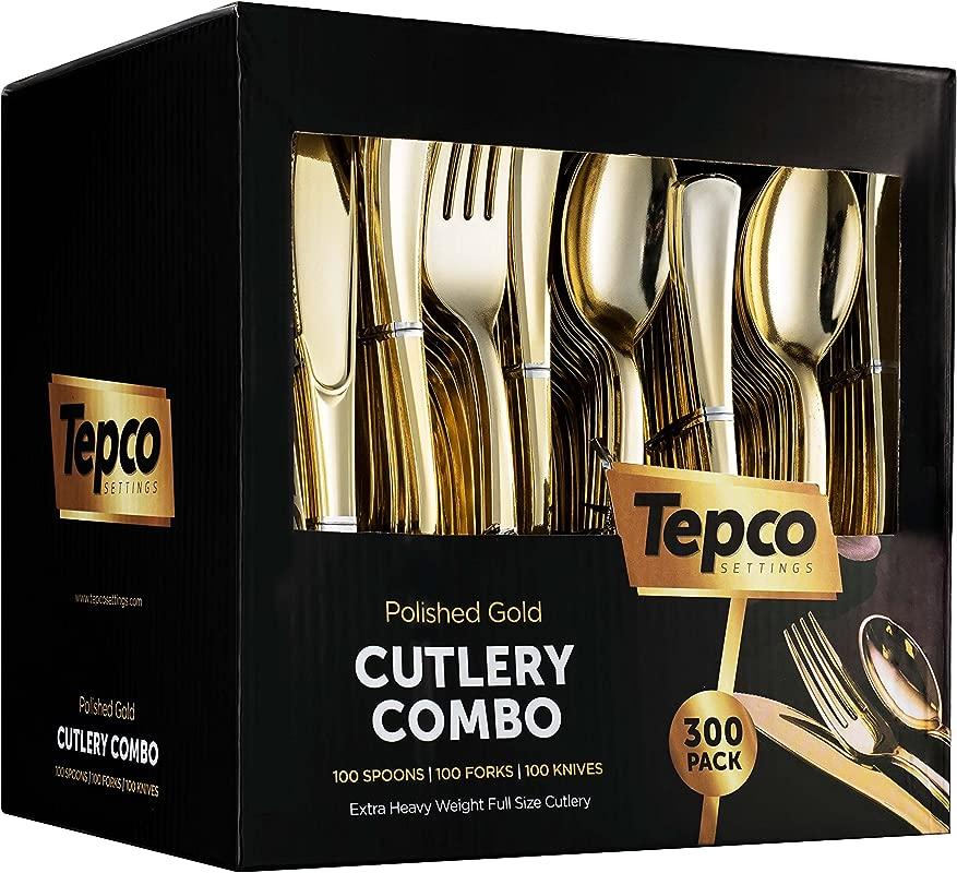 300 Gold Plastic Silverware Set Plastic Gold Cutlery Set Disposable Flatware Gold 100 Gold Plastic Forks 100 Gold Plastic Spoons 100 Gold Cutlery Knives Heavy Duty Silverware For Party Bulk