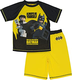 LEGO Batman Boys Pajama Set, 2 Piece PJ Set,Short Sleeve,Short Pant,Black Yellow,Boys sizes 4/5 to 10/12