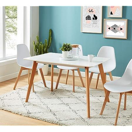 BAÏTA Hans Table à Manger, Blanc, 4 Places