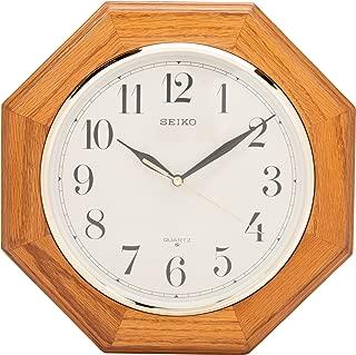 Seiko Wall Clock Medium Brown Solid Oak Case