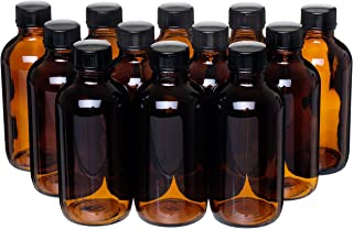 California Home Goods 12 Pack - 4 oz. Amber Glass Bottle with Lid for Vanilla Extract, Perfume, Oils, Light-Sensitive Liquids, Refillable Boston Round Bottle from