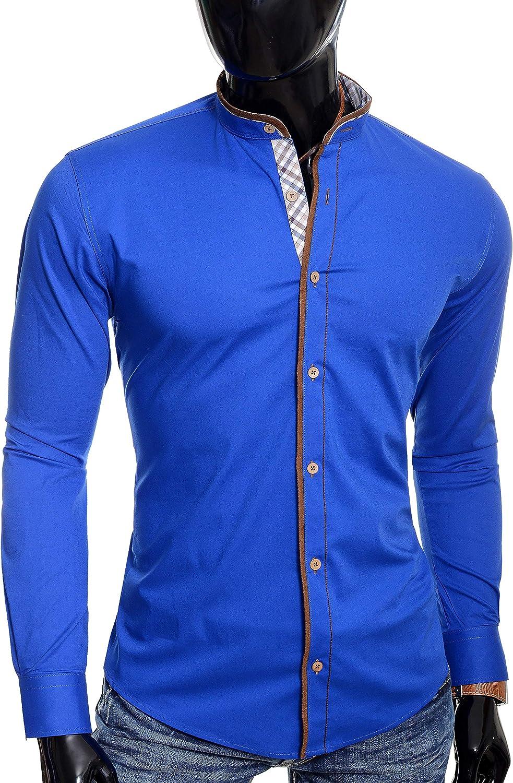 D&R Fashion Hombre Camisa con Cuello Mao Acabado a Cuadros Parches de Codo de Gamuza Slim