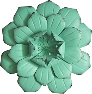 GIFTME 5 Turquoise Flower Metal Wall Decorations for Living Room(13X2.5 inch)